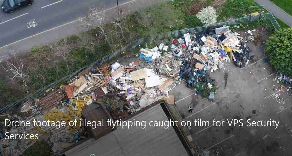 drone captures an organised illegal flytip