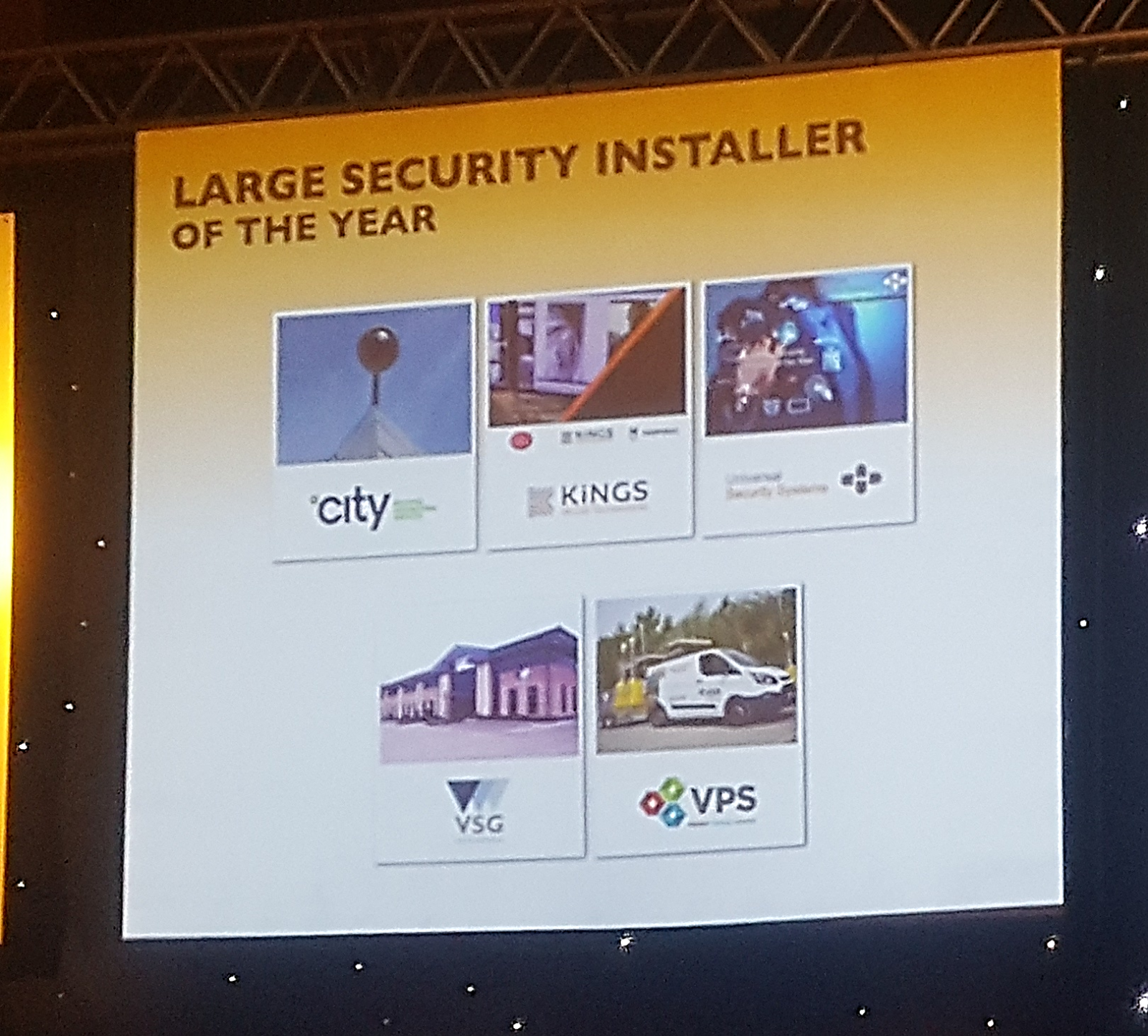 Gala night  Large Security Installer finalist