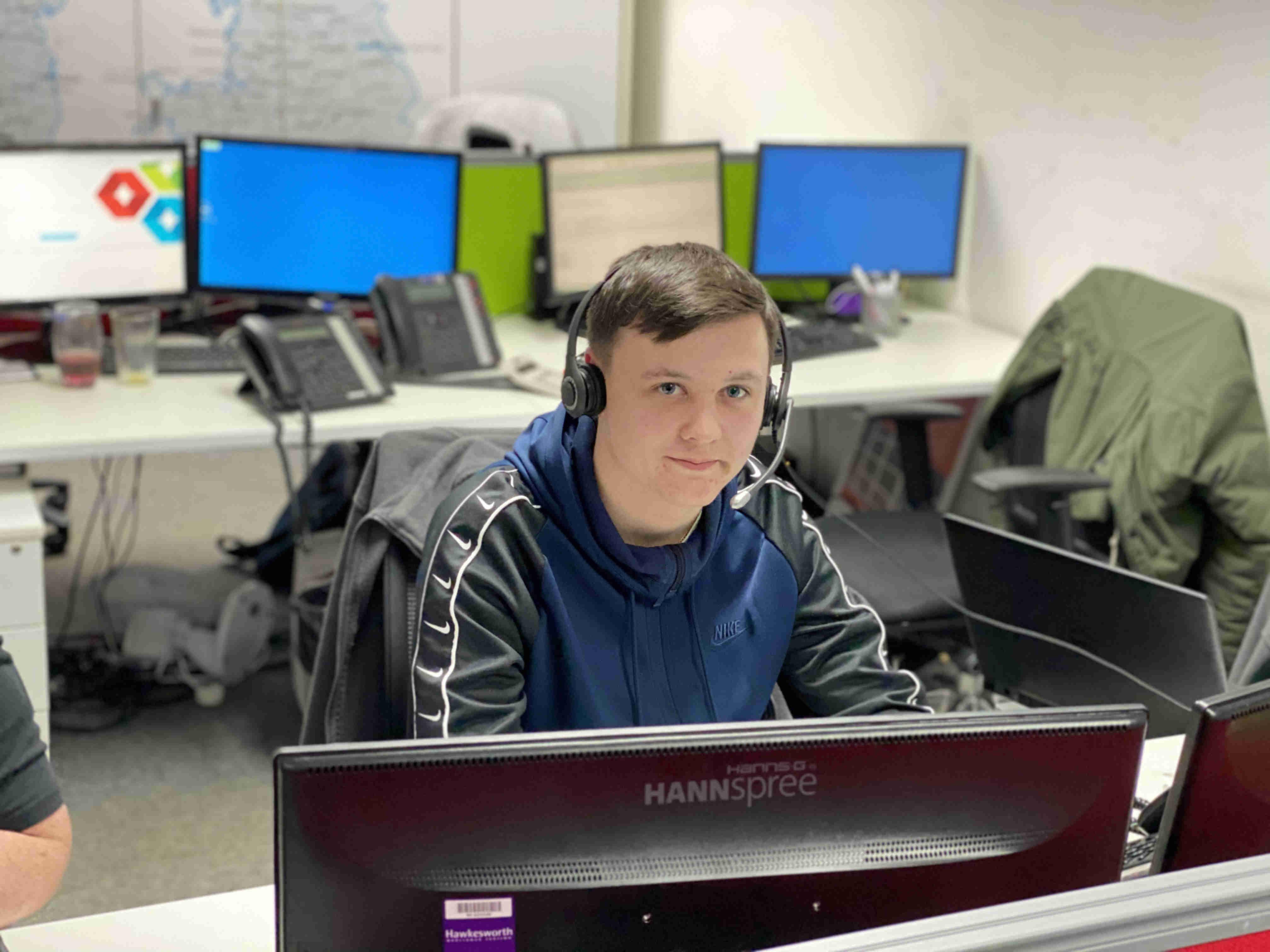 Jaden at his desk in VPS' Strategic Hub