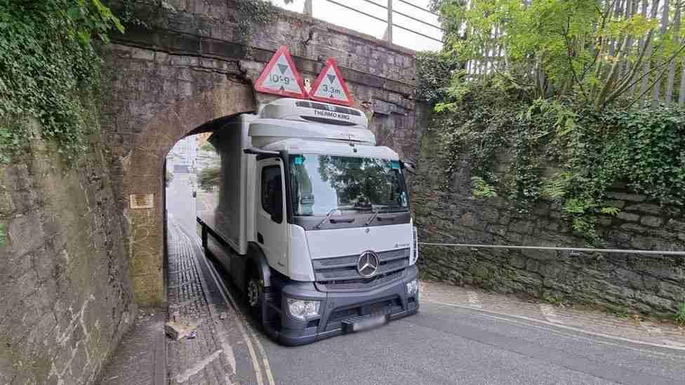 Lorry strikes railway bridge in Plymouth