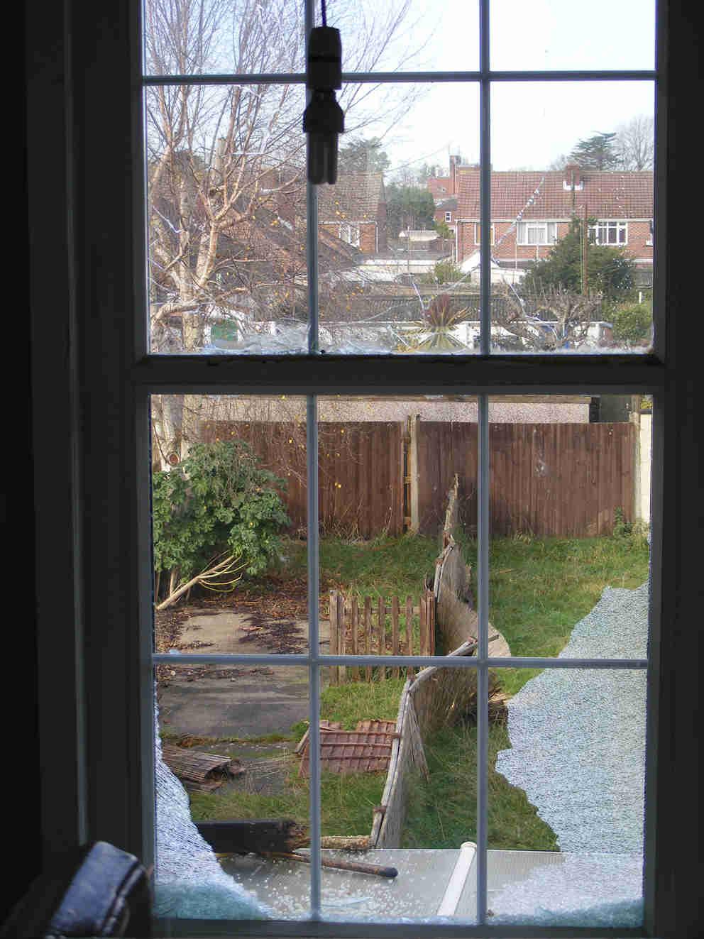 Broken pub window